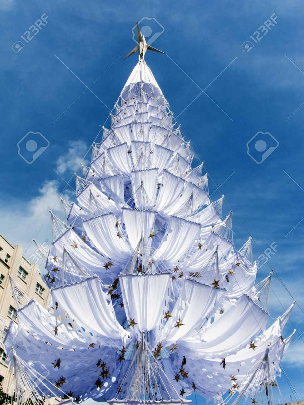 Beautiful Christmas tree in the summer of the tropics made with white hammocks Stock Photo - 16693039