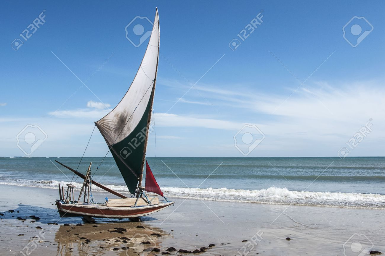 Jangada A Small Fishing Boat On The Beach Fortaleza Brazil Stock Photo