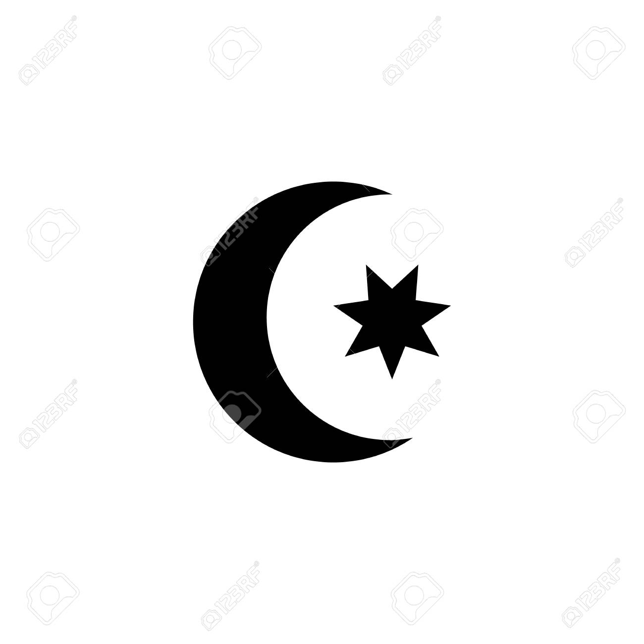 Islamic Religion Moon Star Icon Sign Symbol Royalty Free Cliparts
