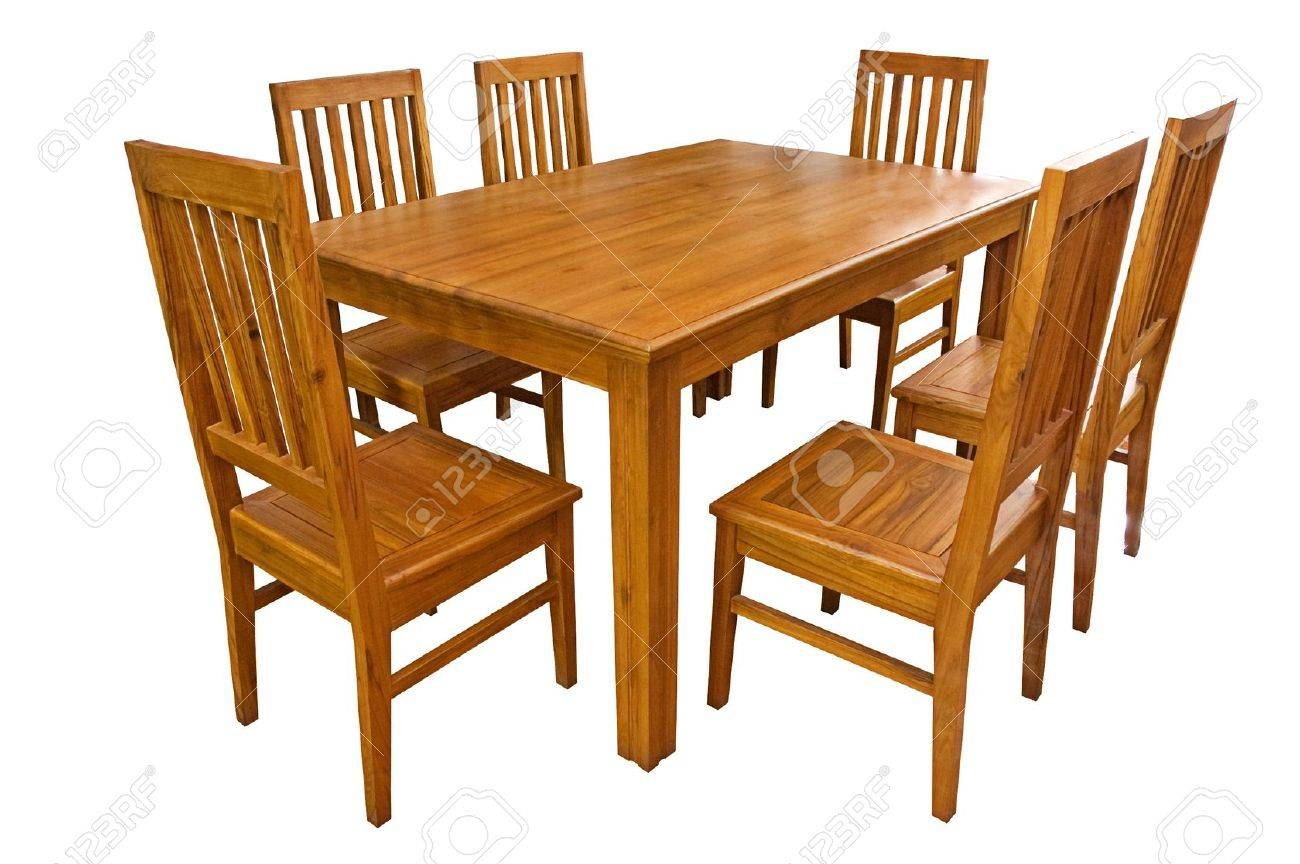 Dining table and chairs isolated on white background Stock Photo - 19806834