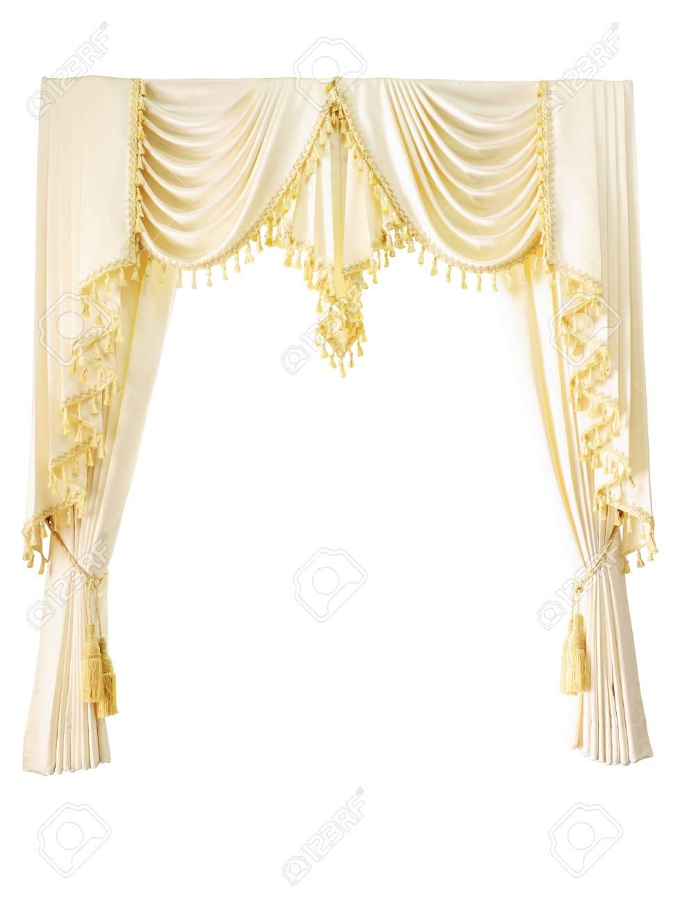 rideau de luxe avec des glands de luxe d'or isolé sur blanc banque d