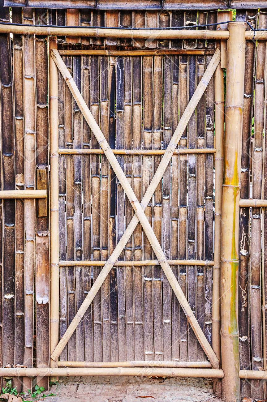 Bamboo door on fence bamboo cut see to the inner Stock Photo - 24470852 & Bamboo Door On Fence Bamboo Cut See To The Inner Stock Photo ...