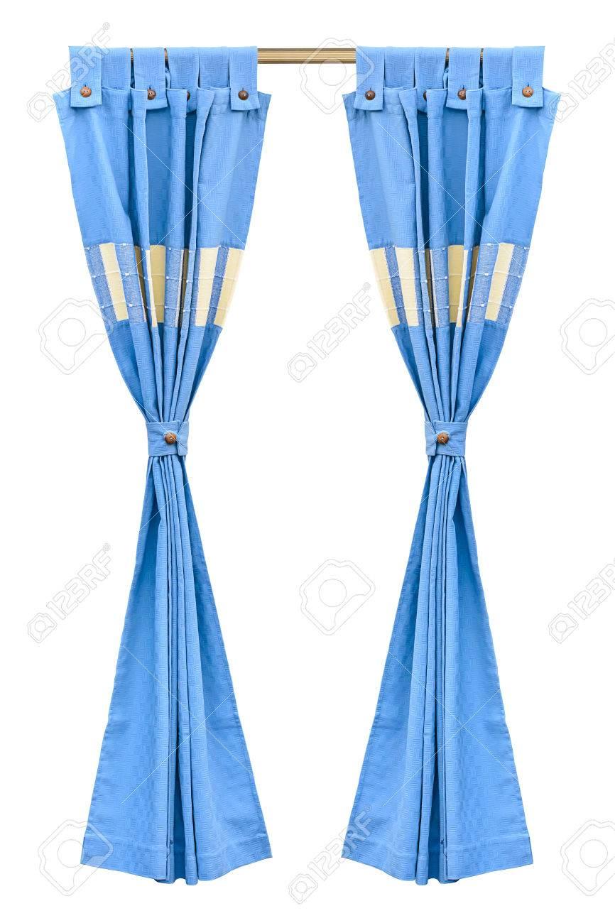 Rideaux Bleus Avec Un Fond Blanc Isolé Banque D\'Images Et Photos ...