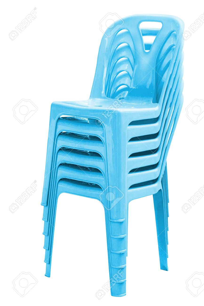 Stack Of Blue Plastic Chairs On White With Clipping Path