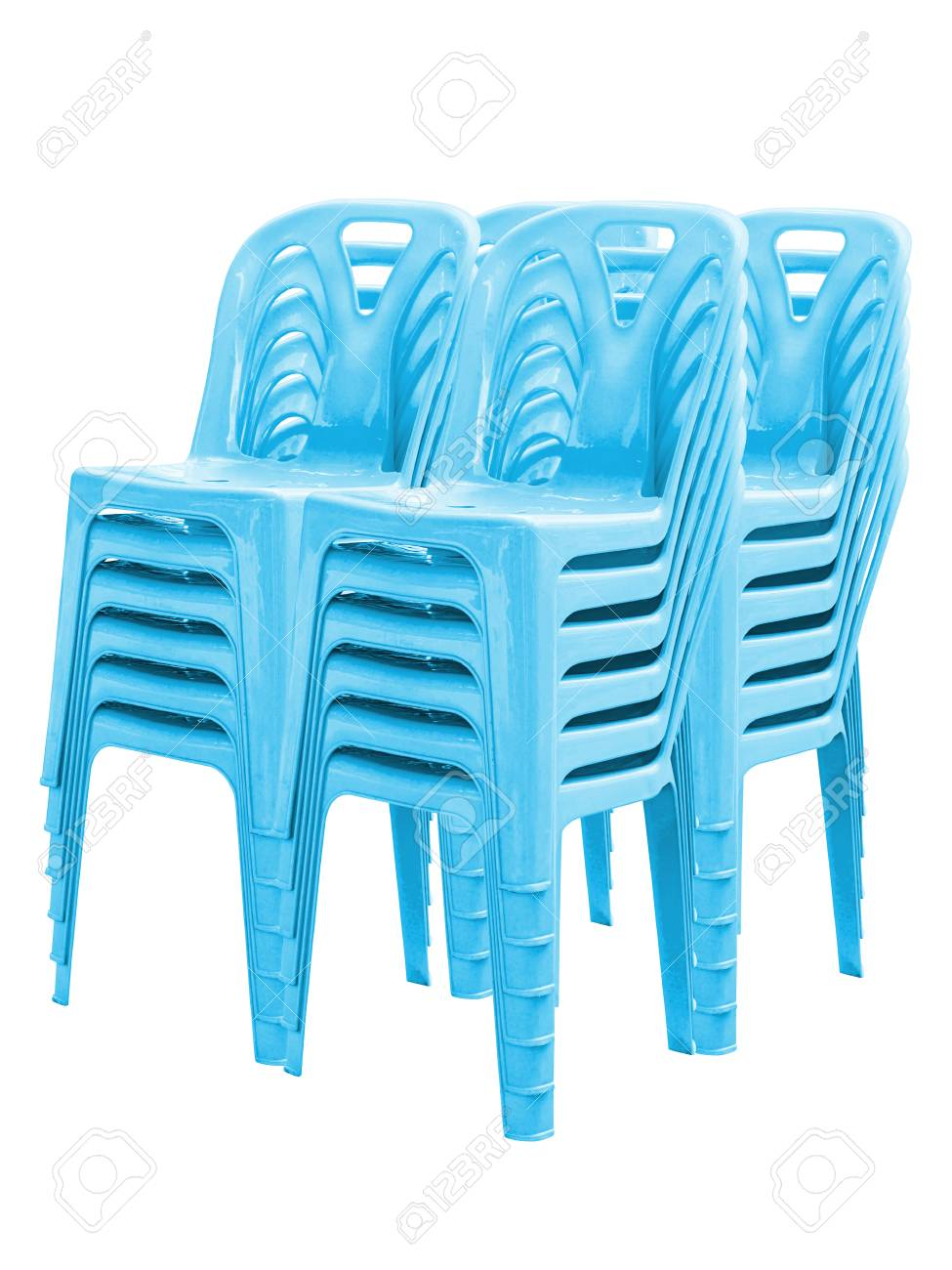 Stack Of Blue Plastic Chairs On White
