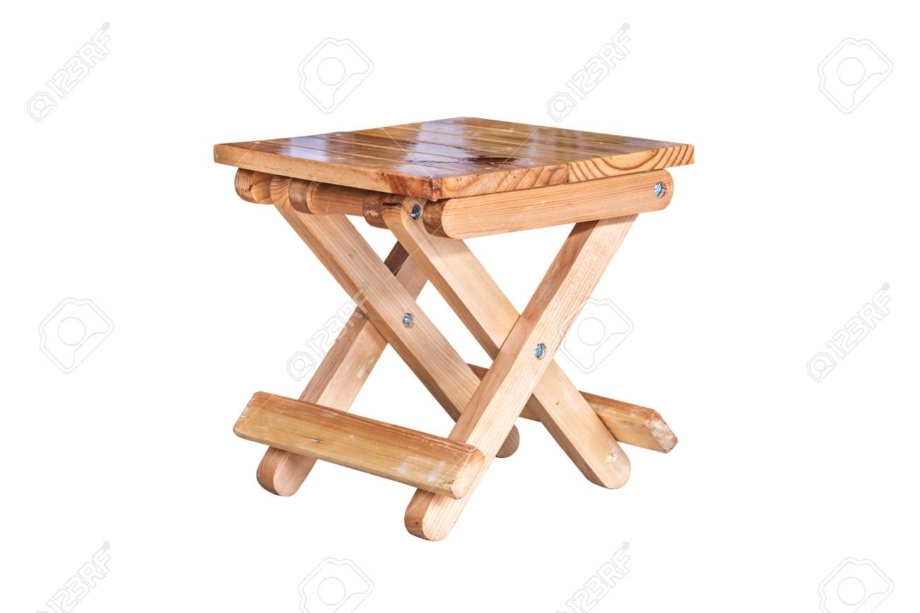 Miraculous Small Wooden Folding Stool On White Background With Clipping Squirreltailoven Fun Painted Chair Ideas Images Squirreltailovenorg