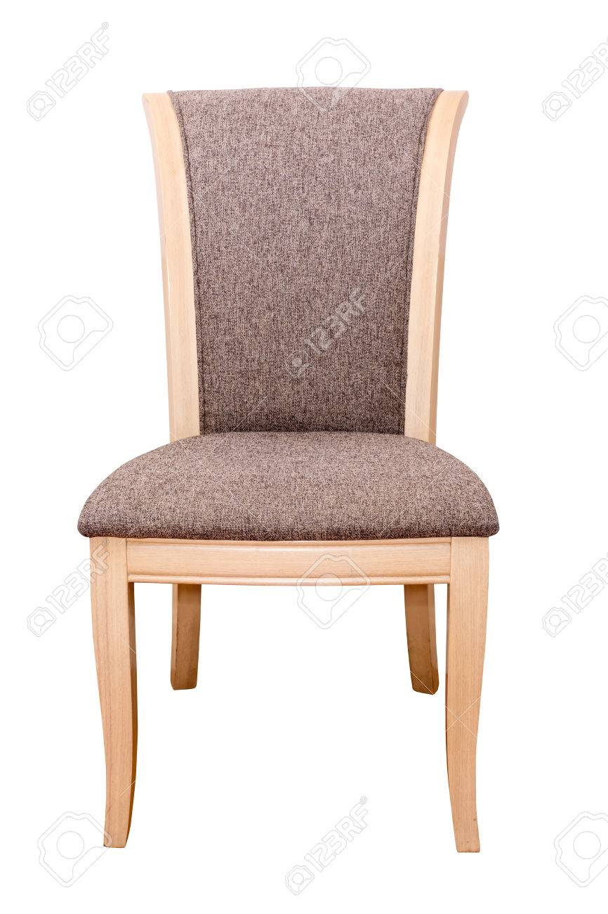 Wooden Chair With Fabric Cushion Isolated On White Stock Photo