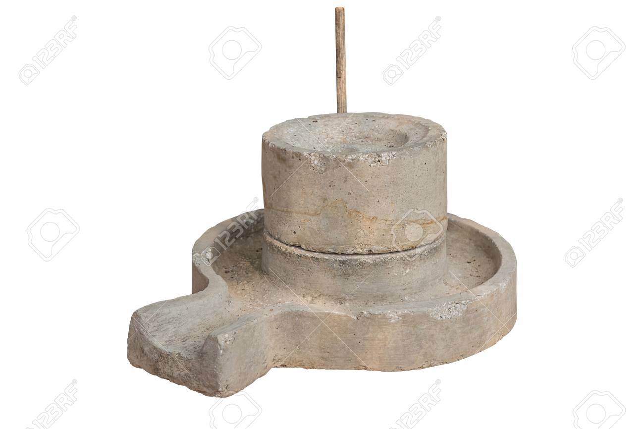 Ancient manual stone mill isolated on white background, work with clipping path. - 126185152