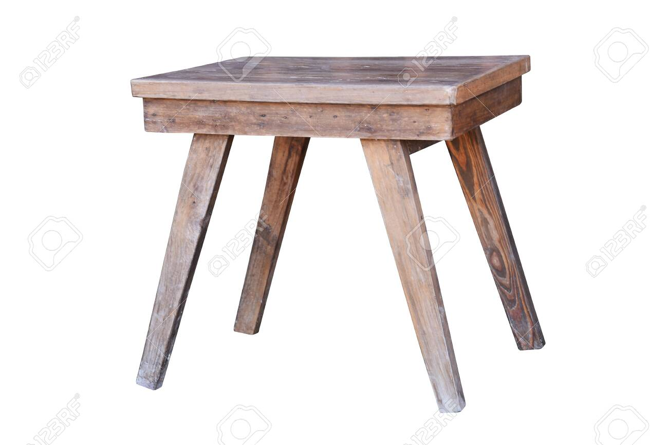 Old wooden table isolated on white background - 137783788