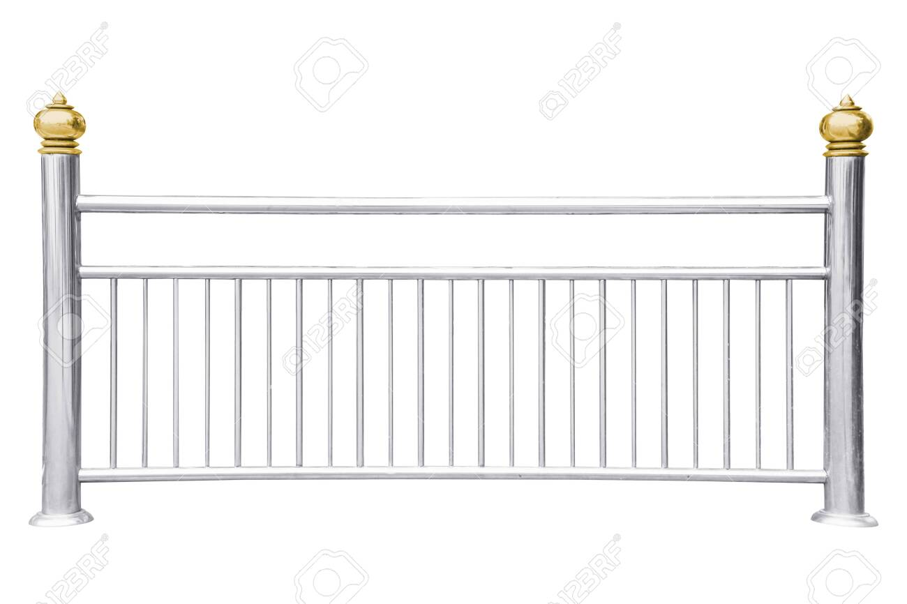 Stainless steel railing isolated on white - 140527737