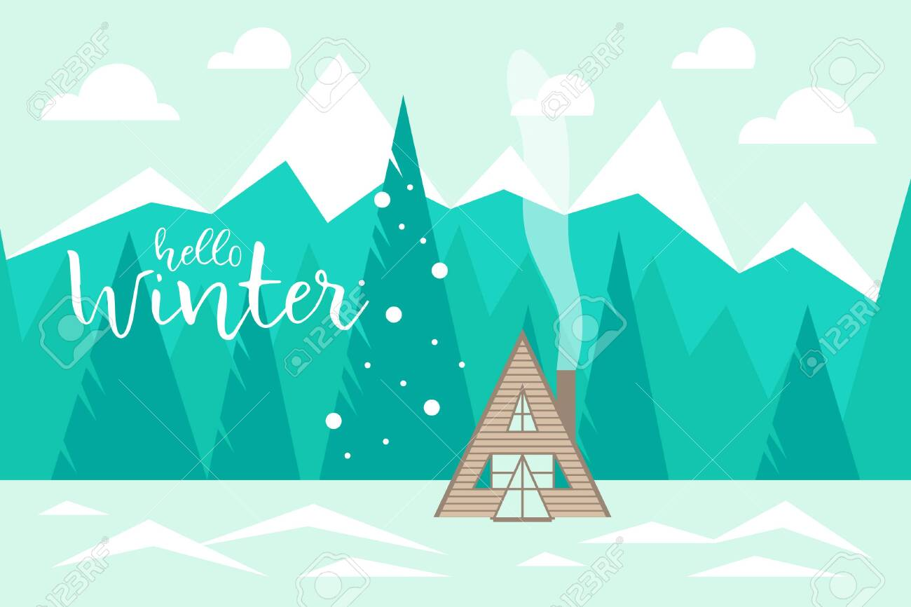 Hello winter Winter landscape with mountains, forest and wooden house. Vector illustration - 133179964