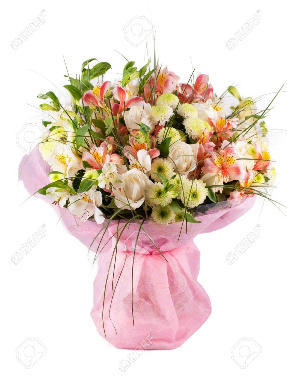 Spring Flowers Bouquet With A Lot Of Different Flowers Stock Photo