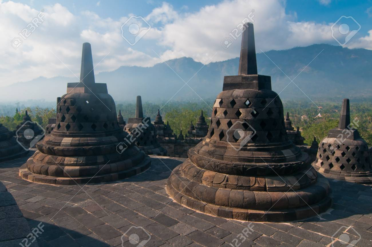 Borobudur temple at sunny morning  Central Java, Indonesia Stock Photo - 12883715