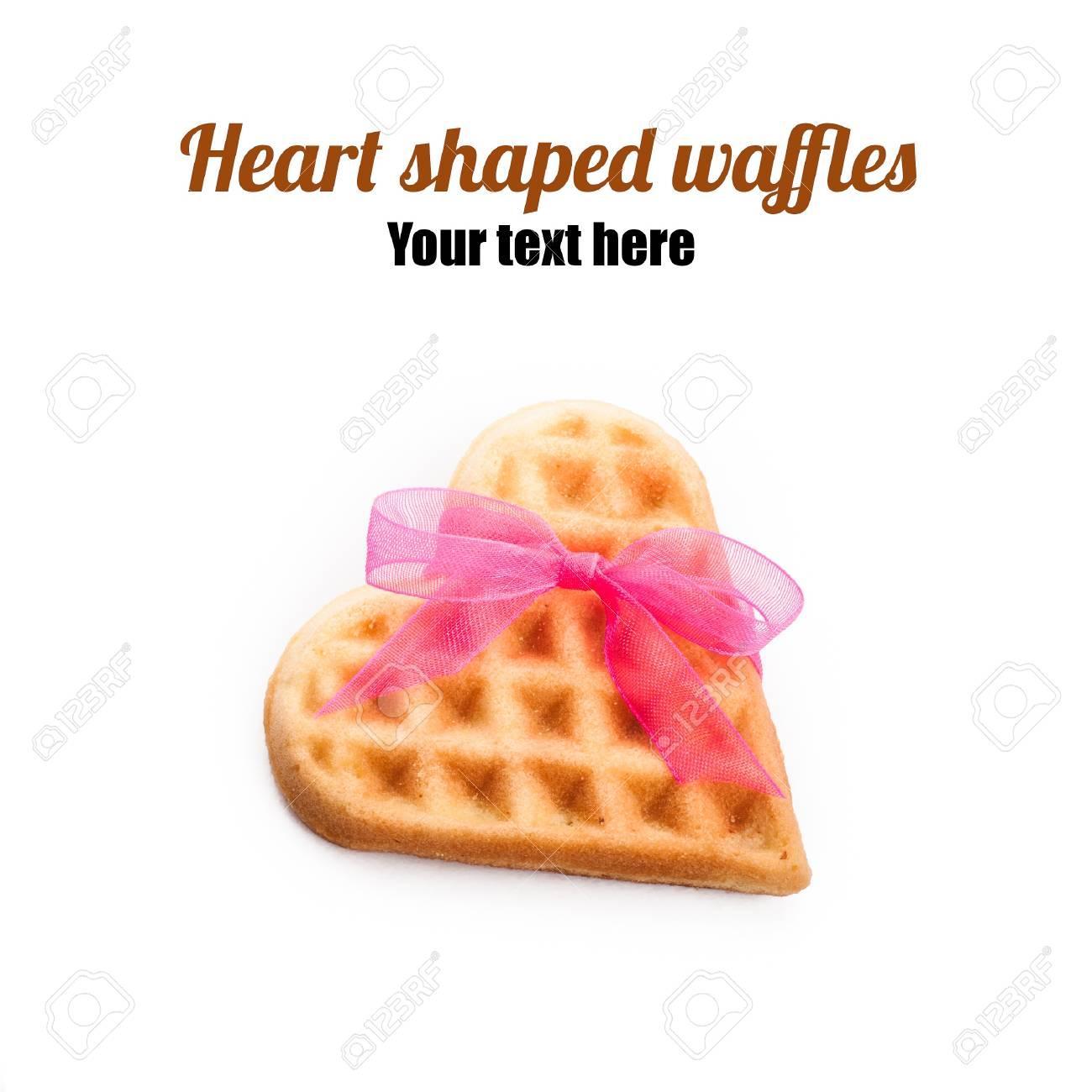 Heart shaped waffle isolated on white background Stock Photo - 17430497