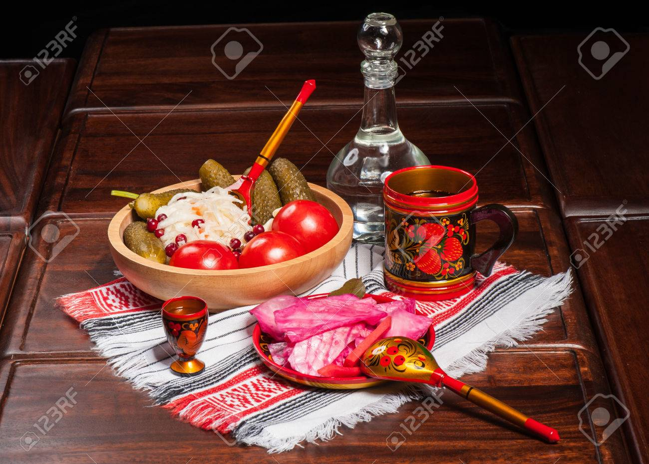 Stock Photo - Traditional russian pickled vegetables in painted wooden tableware : traditional russian tableware - pezcame.com