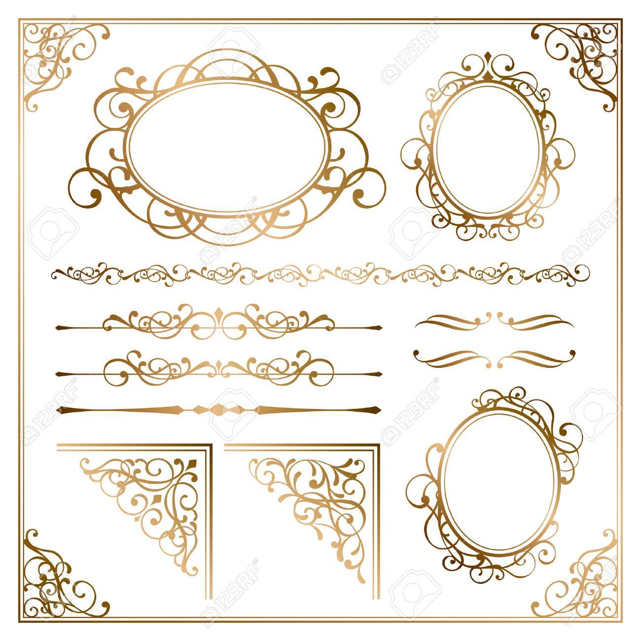 Golden frames Stock Vector - 49930682