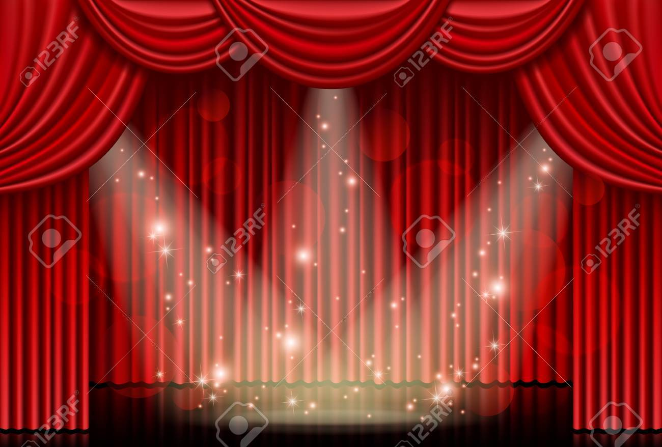 Red curtain with spotlights - 56108465