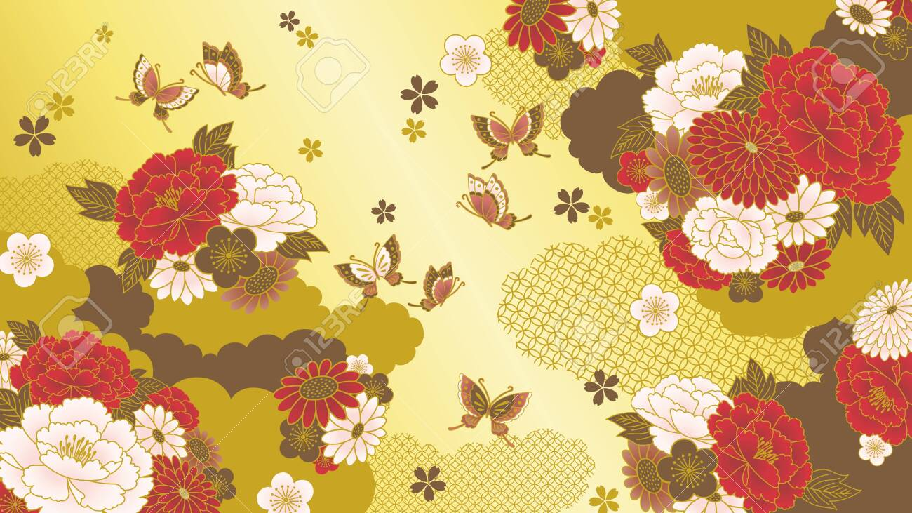 Japanese Floral Background Royalty Free Cliparts Vectors And