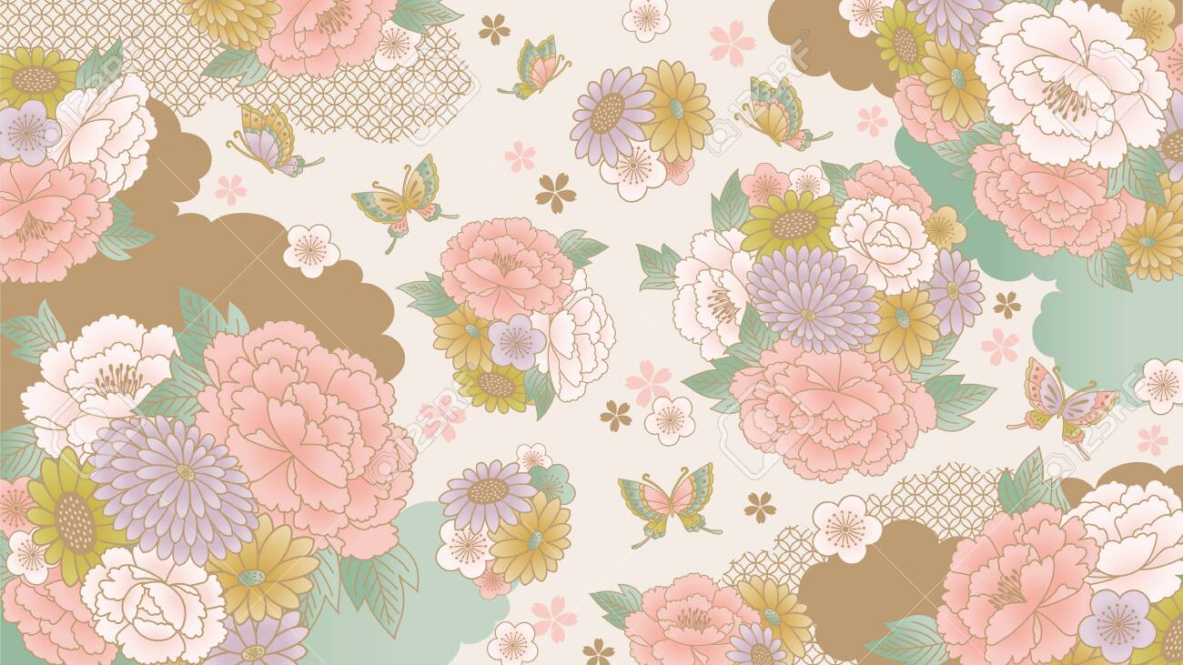 Japanese Floral Wallpaper Royalty Free Cliparts Vectors And