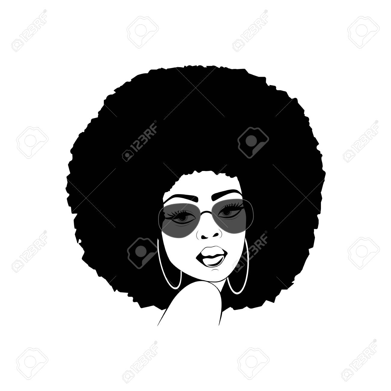 Foxy lady with afro hairstyle and sunglasses - 142541437