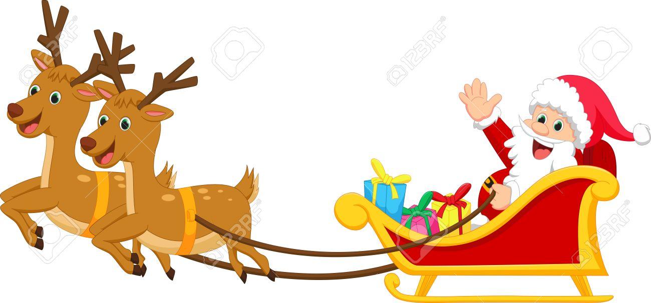 happy santa claus with his sleigh royalty free cliparts vectors