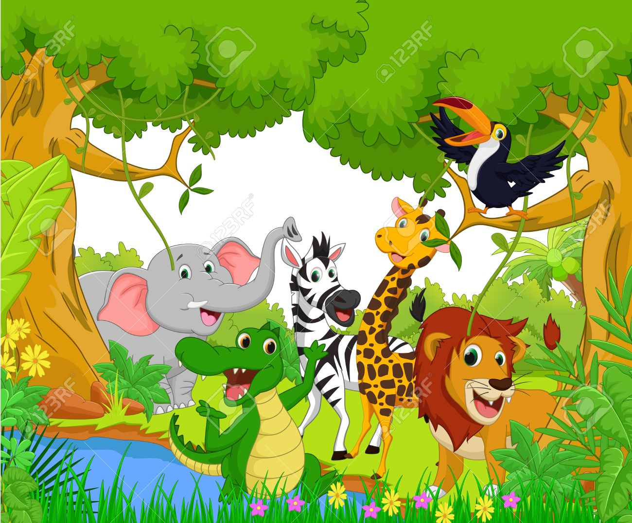 Animal Cartoon In The Jungle Royalty Free Cliparts Vectors And Stock Illustration Image 49620738