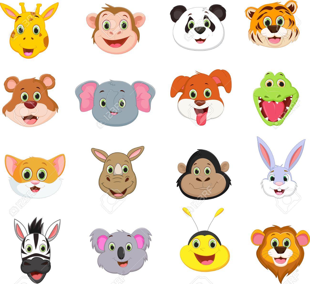 かわいい動物顔漫画コレクションのイラスト ロイヤリティフリー