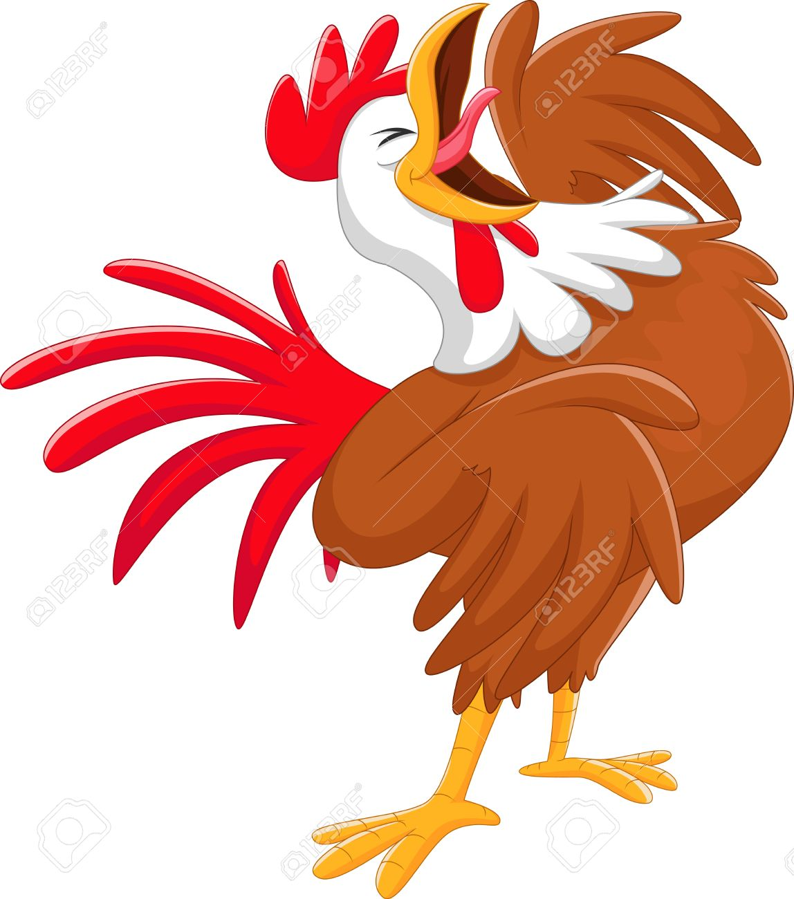 happy cartoon rooster crowing royalty free cliparts vectors and