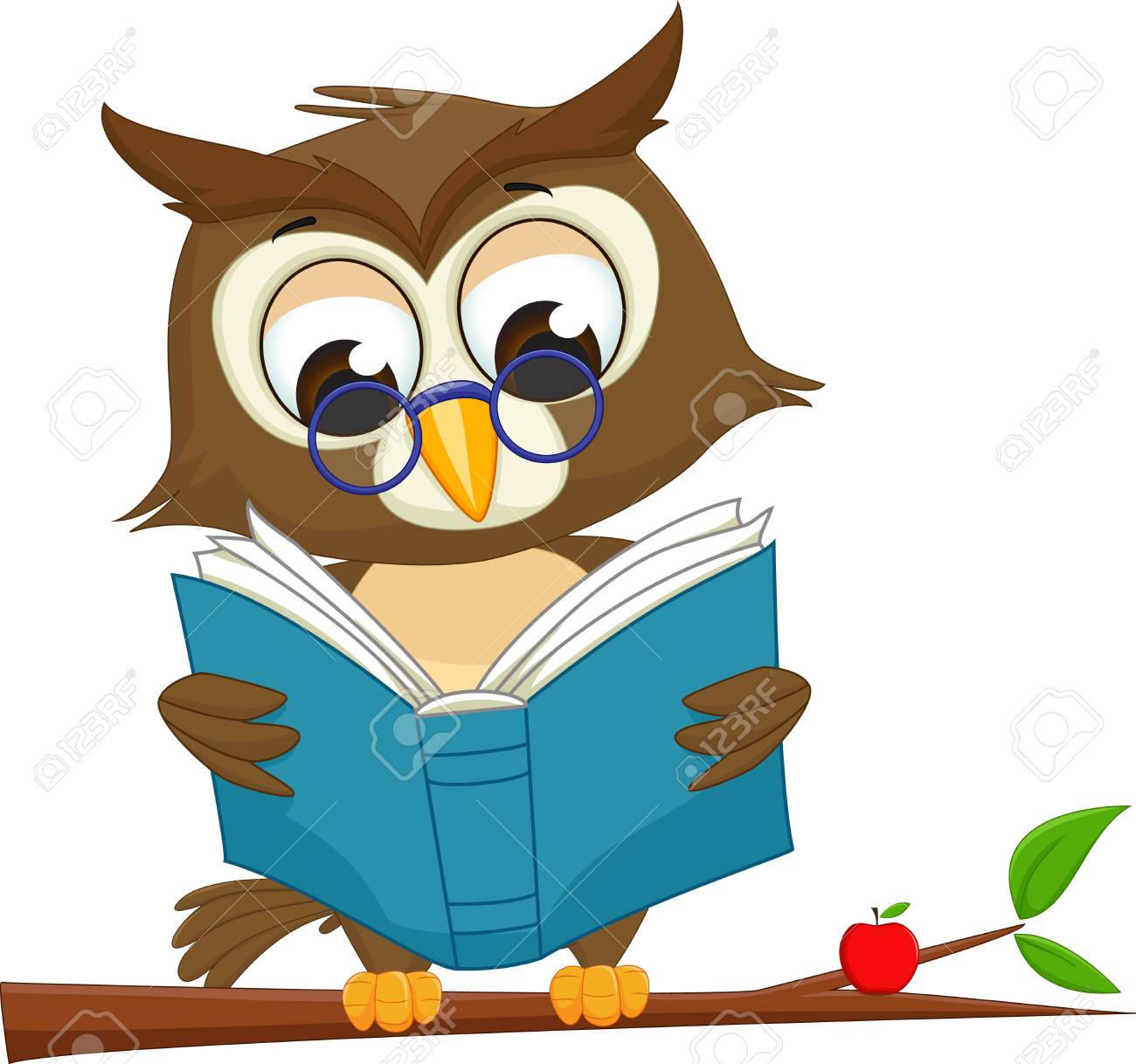 owl reading a book on tree branch royalty free cliparts vectors rh 123rf com Hamburger Clip Art Skiing Clip Art