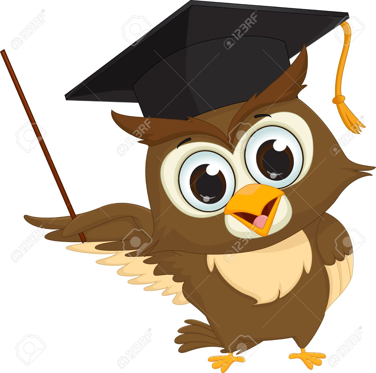 Cartoon Wise Owl With Pointer Giving Educational Presentations Stock Vector
