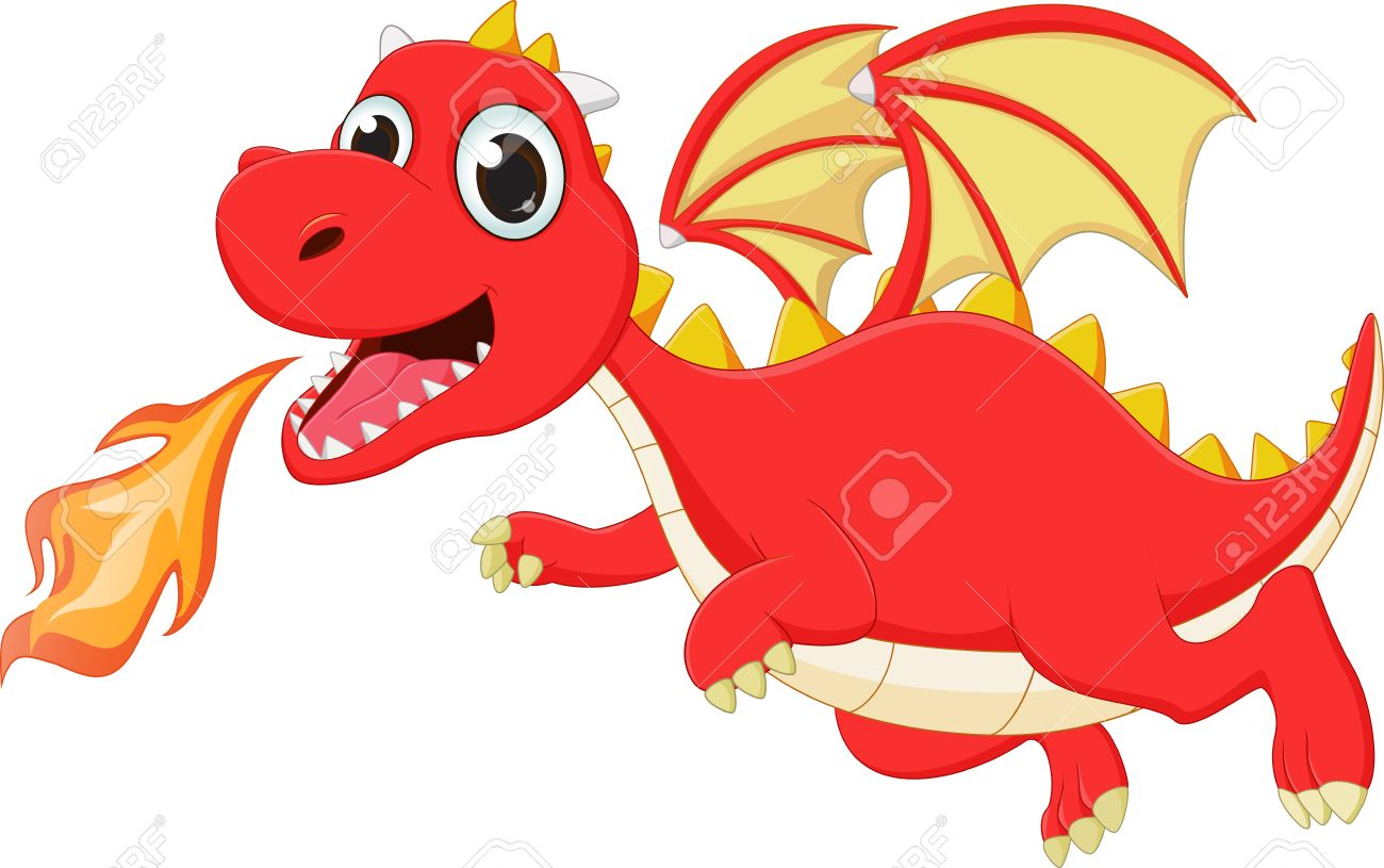 Funny Cartoon Flying Dragon With Fire Royalty Free Cliparts Vectors And Stock Illustration Image 61041338