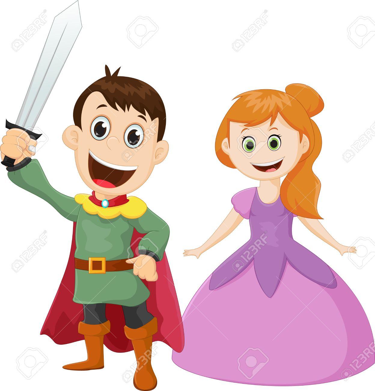 Feliz Príncipe Y La Princesa De Dibujos Animados