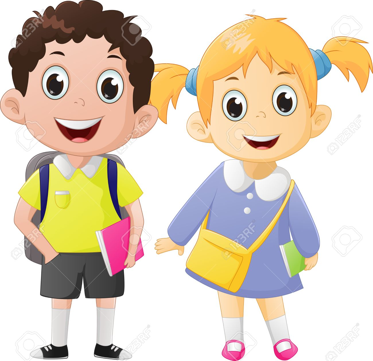 happy boy and girl ready to go back to school royalty free cliparts rh 123rf com boy and girl clipart outline boy and girl clipart coloring