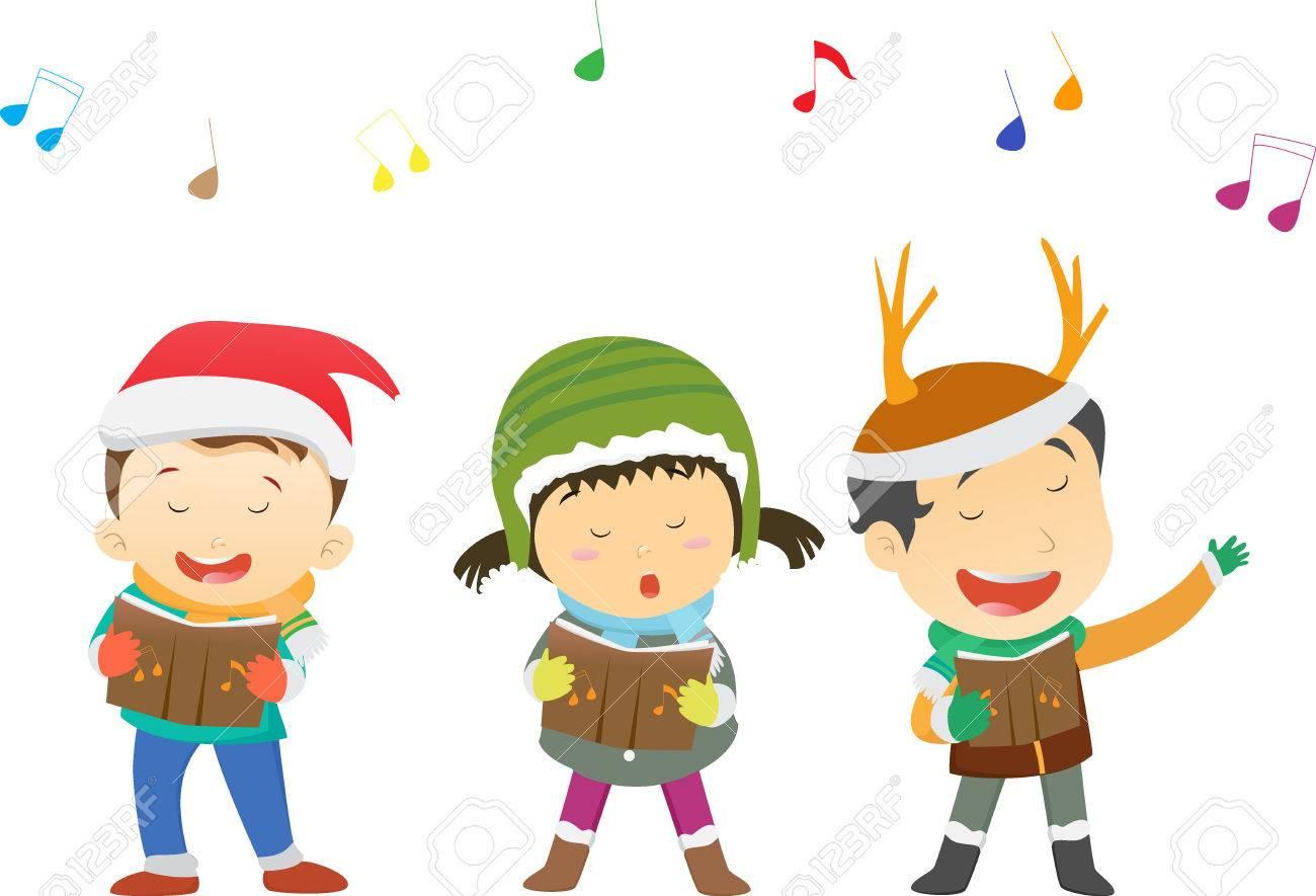 Glückliche Kinder Singen Weihnachtslieder Lizenzfrei Nutzbare ...