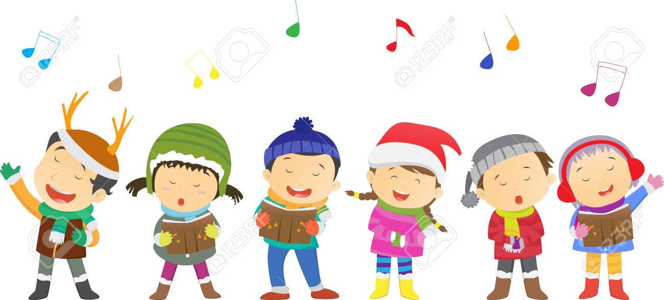 Happy Kids Singing Christmas Carols Royalty Free Cliparts, Vectors ...