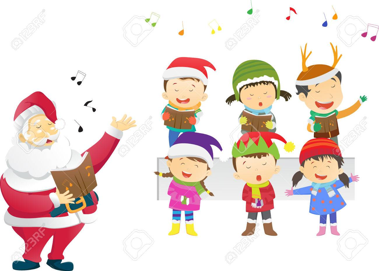Kids Singing Christmas Carols With Santa Royalty Free Cliparts ...