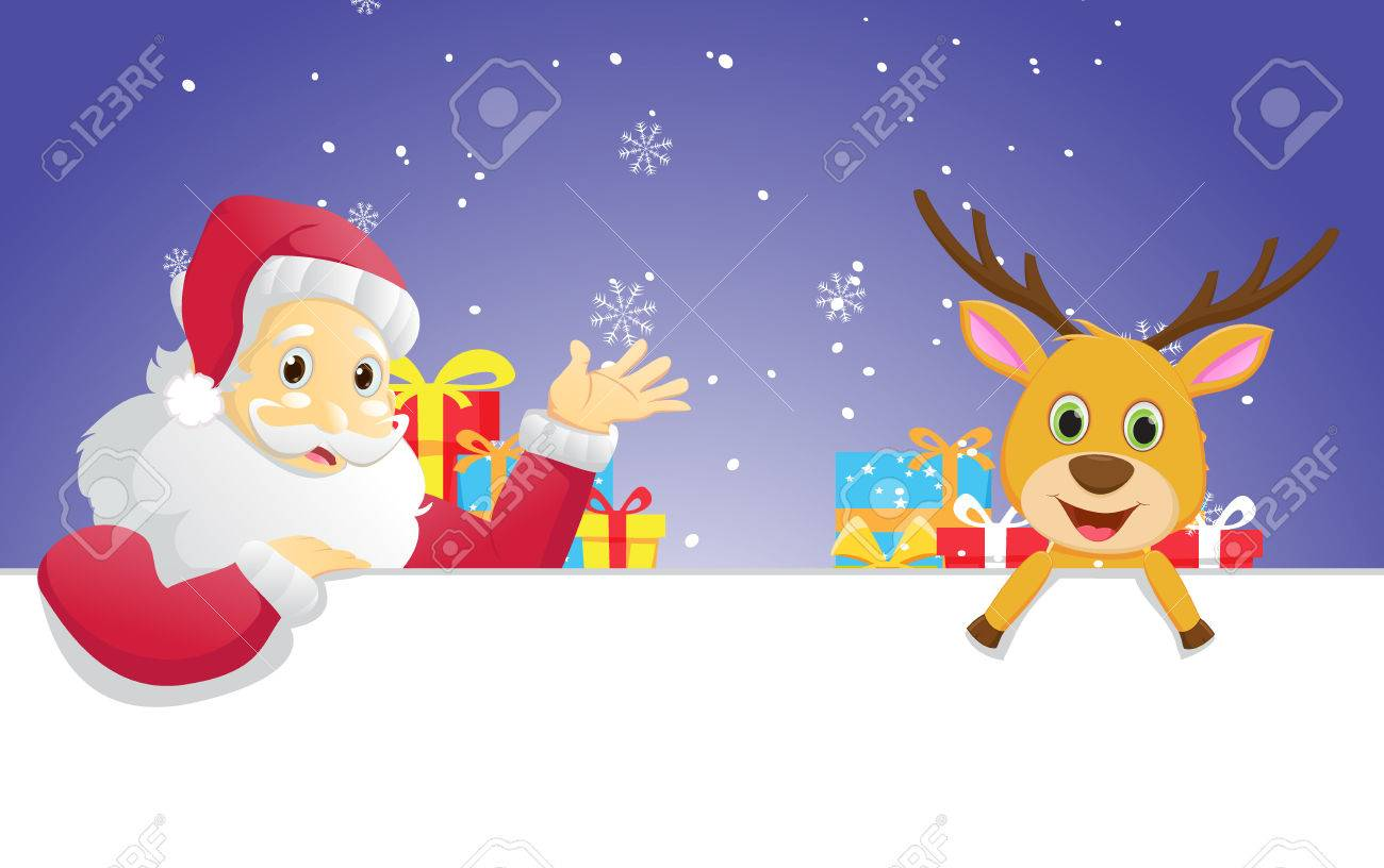 christmas banner santa claus and his reindeer royalty free