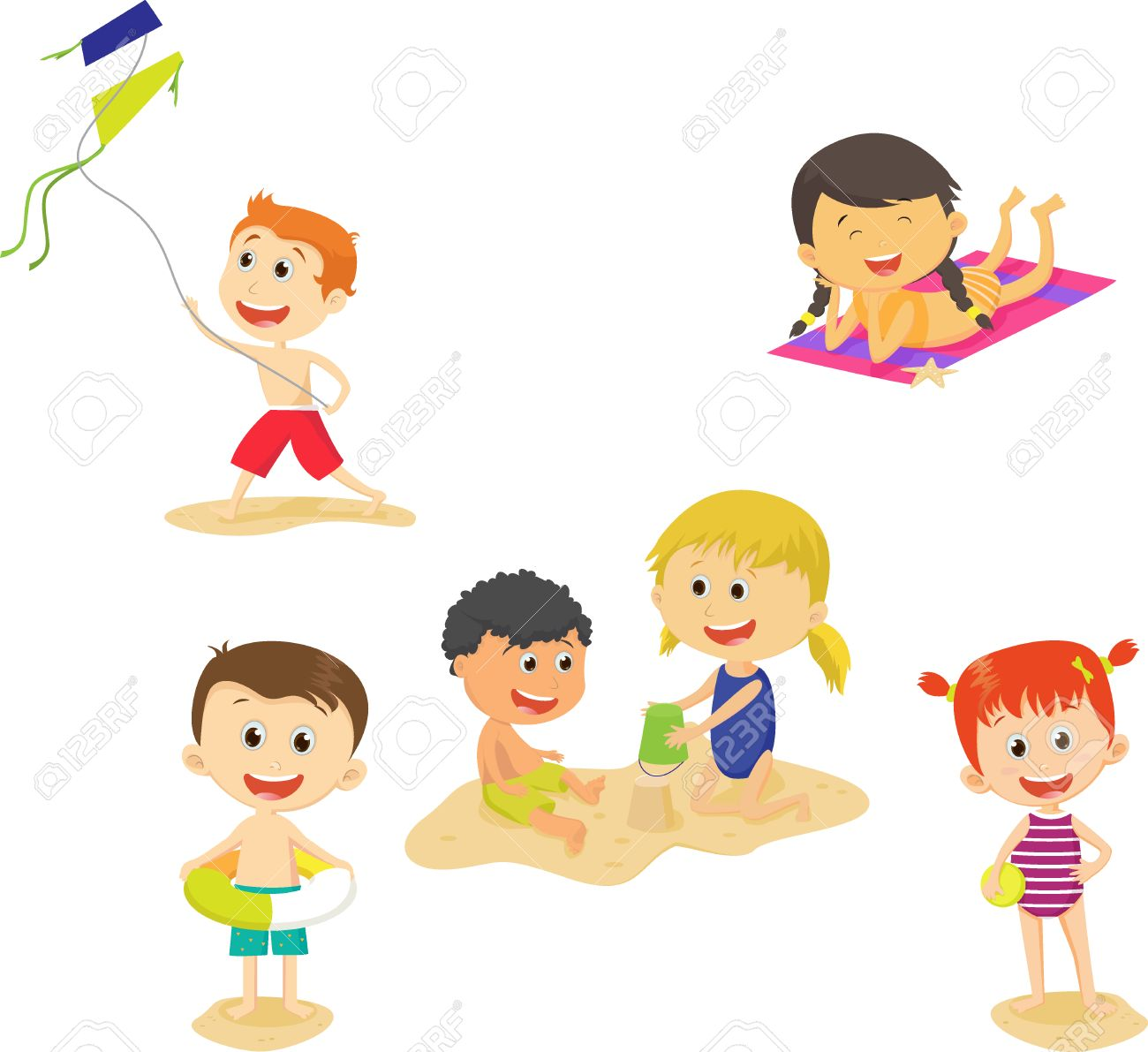 Collection Of Cartoon Kids Having Fun On Beach Summer Royalty Free Cliparts Vectors And Stock Illustration Image 79854280