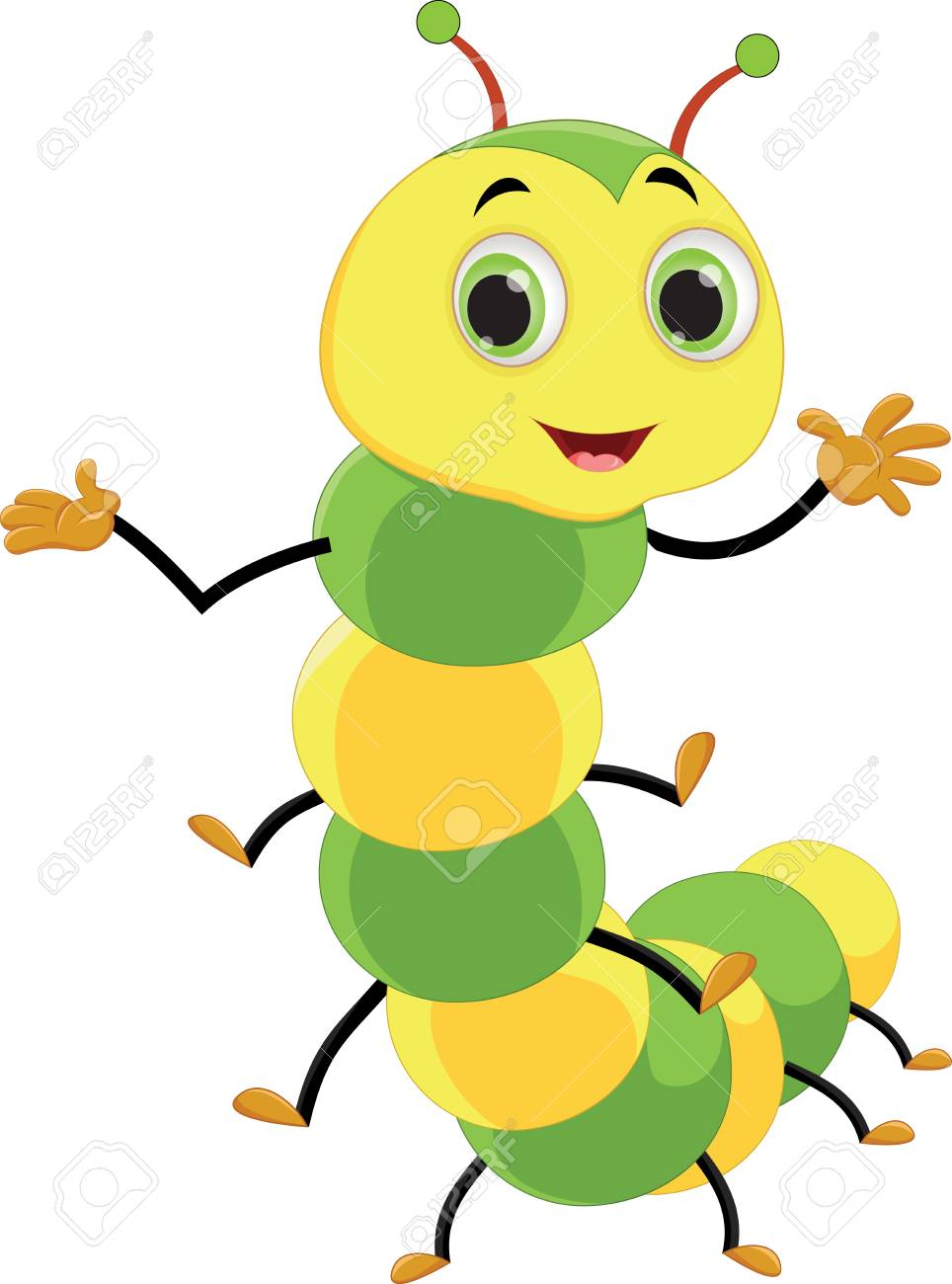 Cute Caterpillar Cartoon Vector Illustration Isolated On White