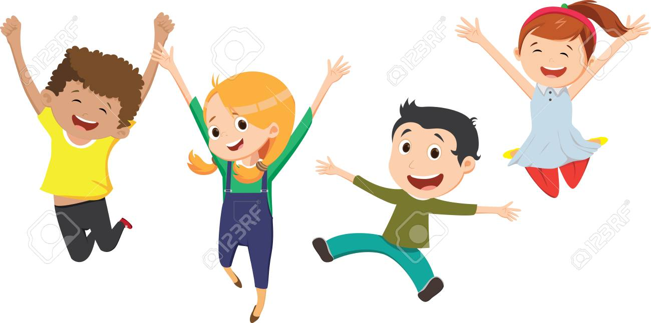 Three Happy Children, Boy And Girl, Funny Vector Illustration... Royalty  Free Cliparts, Vectors, And Stock Illustration. Image 113580101.