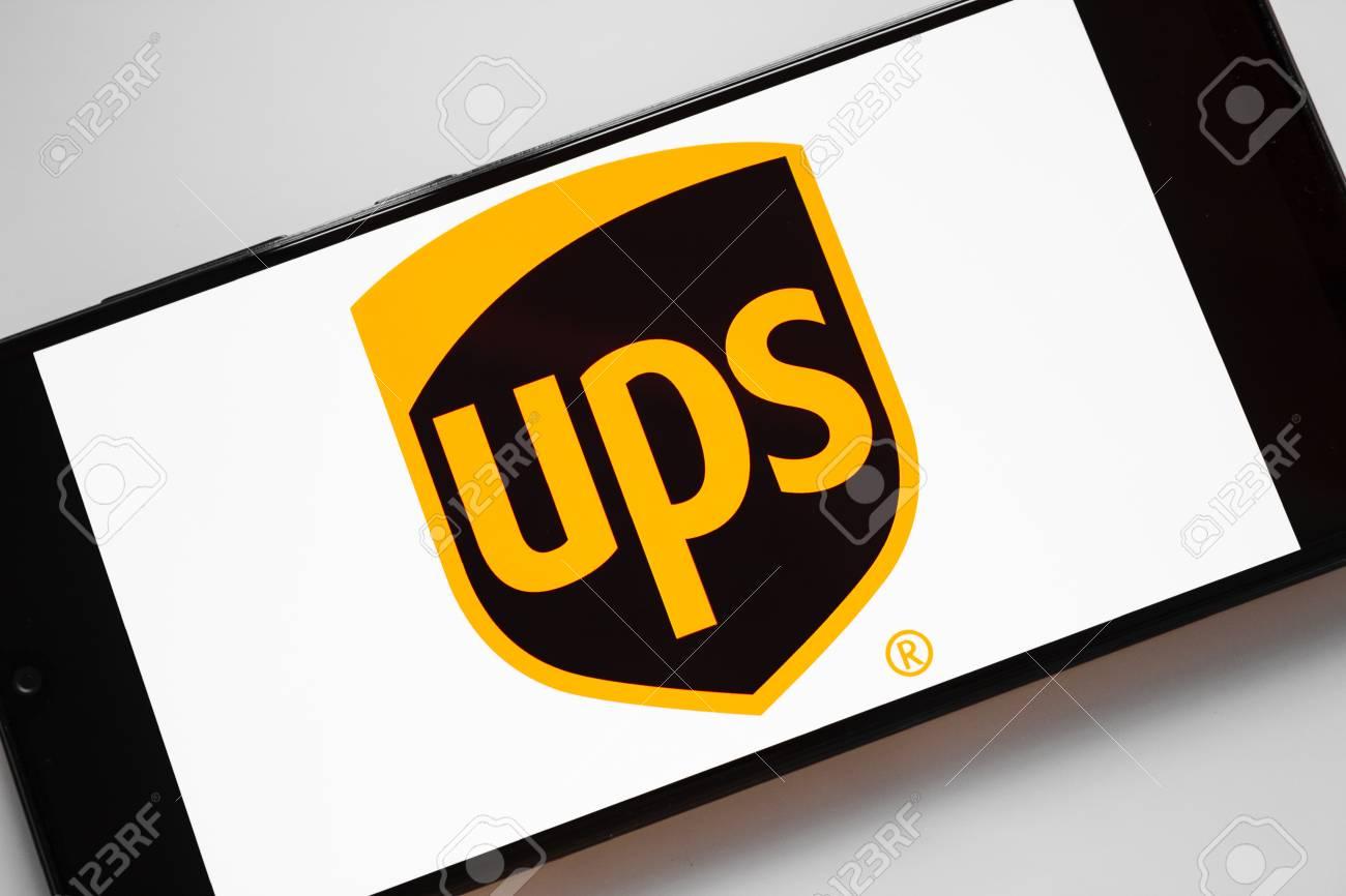 RUSSIA, KAZAN MAY 1, 2019: United Parcel Service, UPS logo on