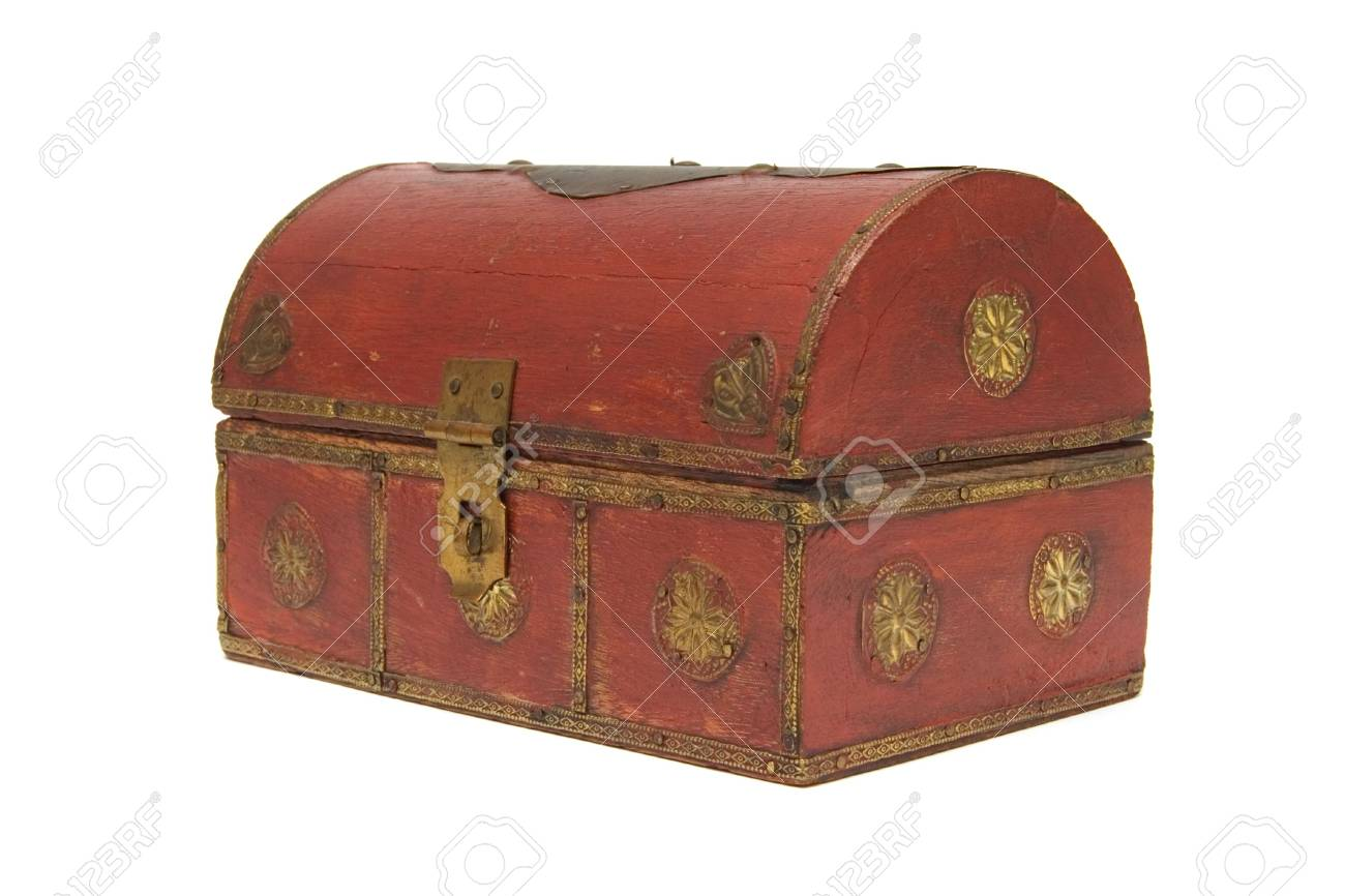 wooded chest with golden ornaments isolated white background Stock Photo - 1171133