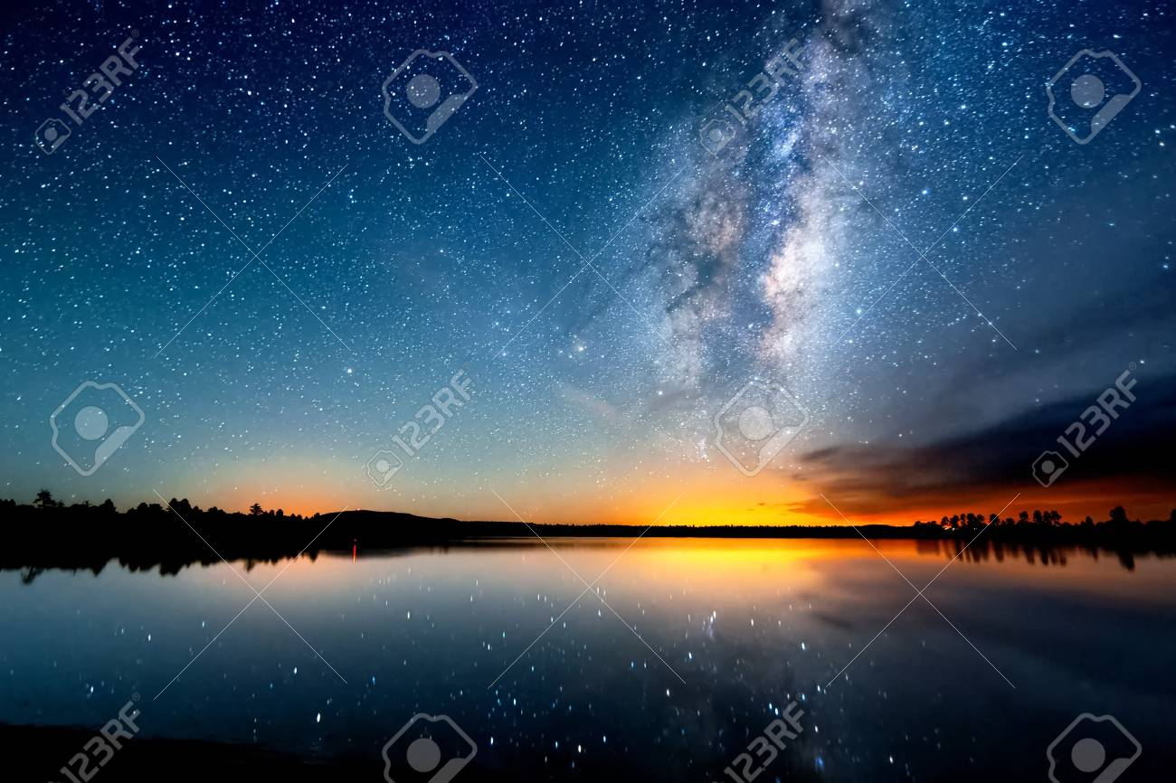 The starry sky, the milky way. Photo of long exposure. Night landscape. - 102251271