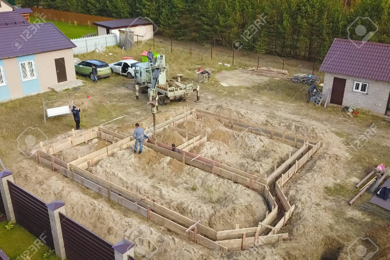 Moscow, Russia - November 10, 2019: The foundation of the house. Building a house, digging the foundation. - 143815531