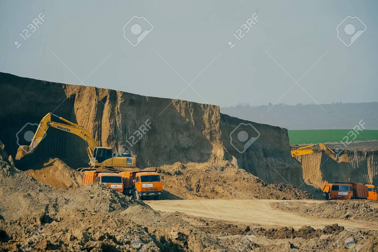 Moscow, Russia - November 22, 2019: Clay quarry for the extraction of clay for the production of bricks. - 143815551