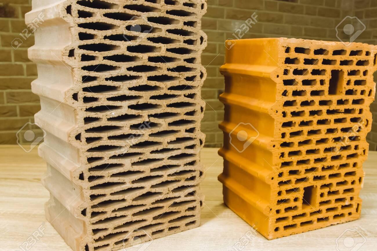 Samples of hollow bricks. Brick factory products. - 140765922
