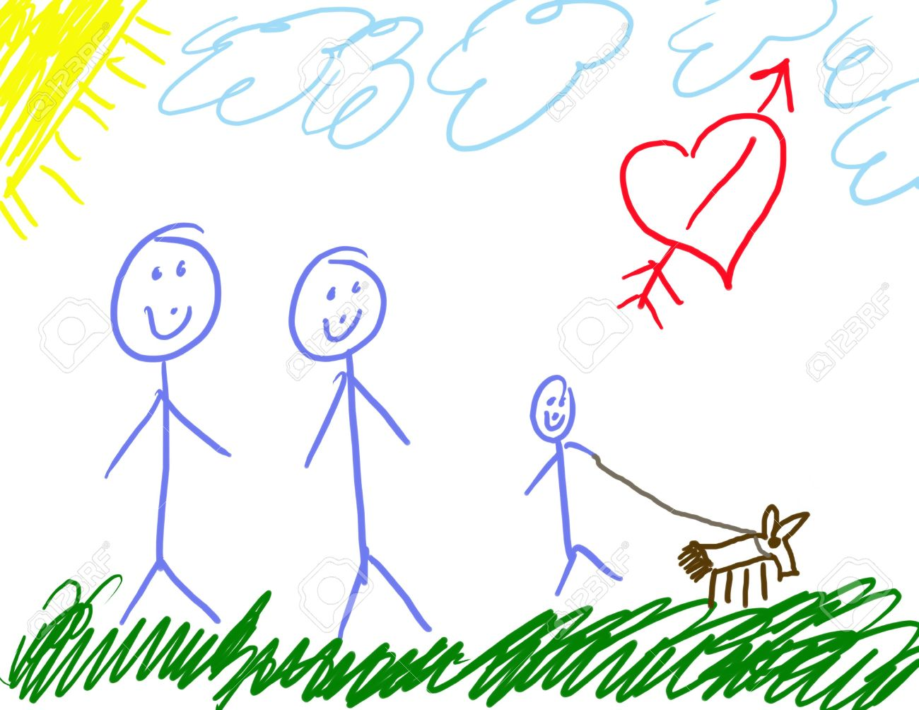Uncategorized Child Drawing childs drawing of his family stock photo picture and royalty 2403025