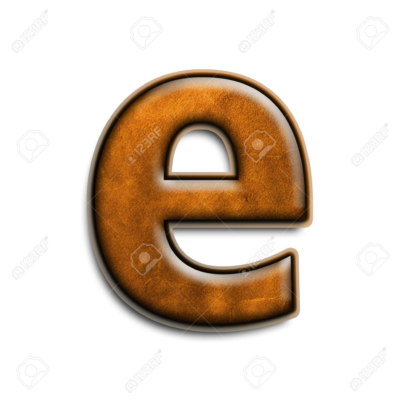 lowercase letter e in brown leather isolated on white stock photo