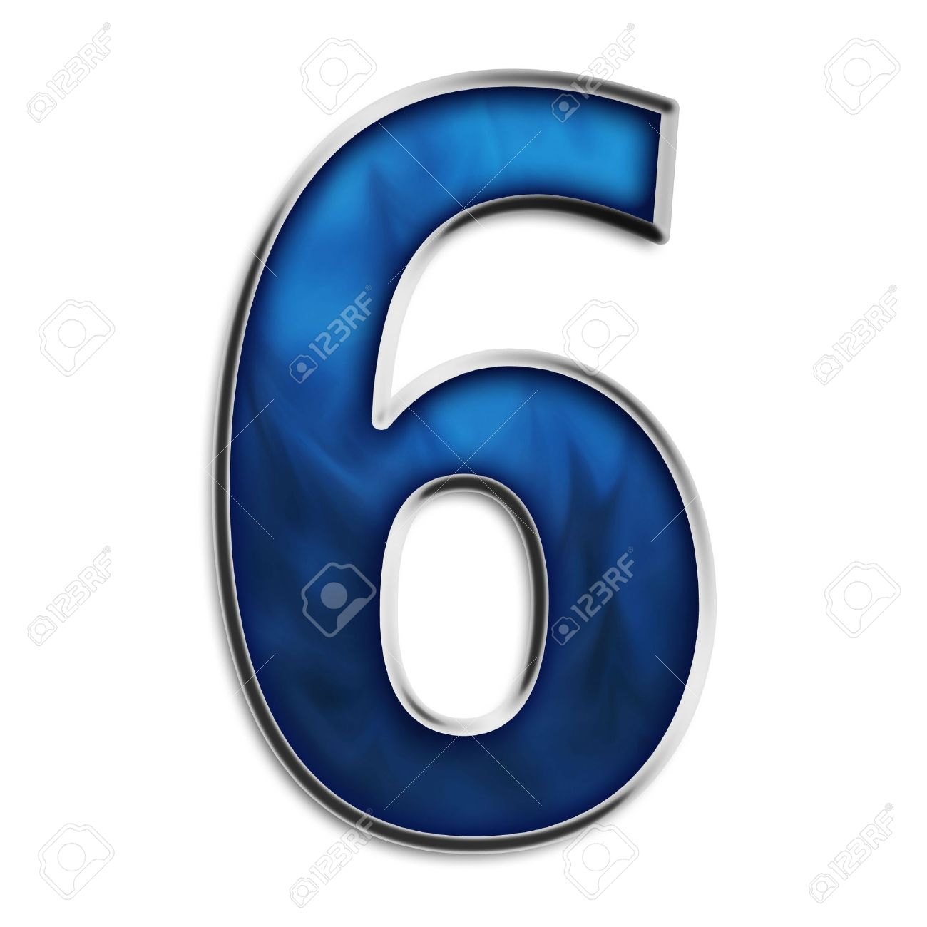 number 6 in steel smokey blue isolated on white stock photo