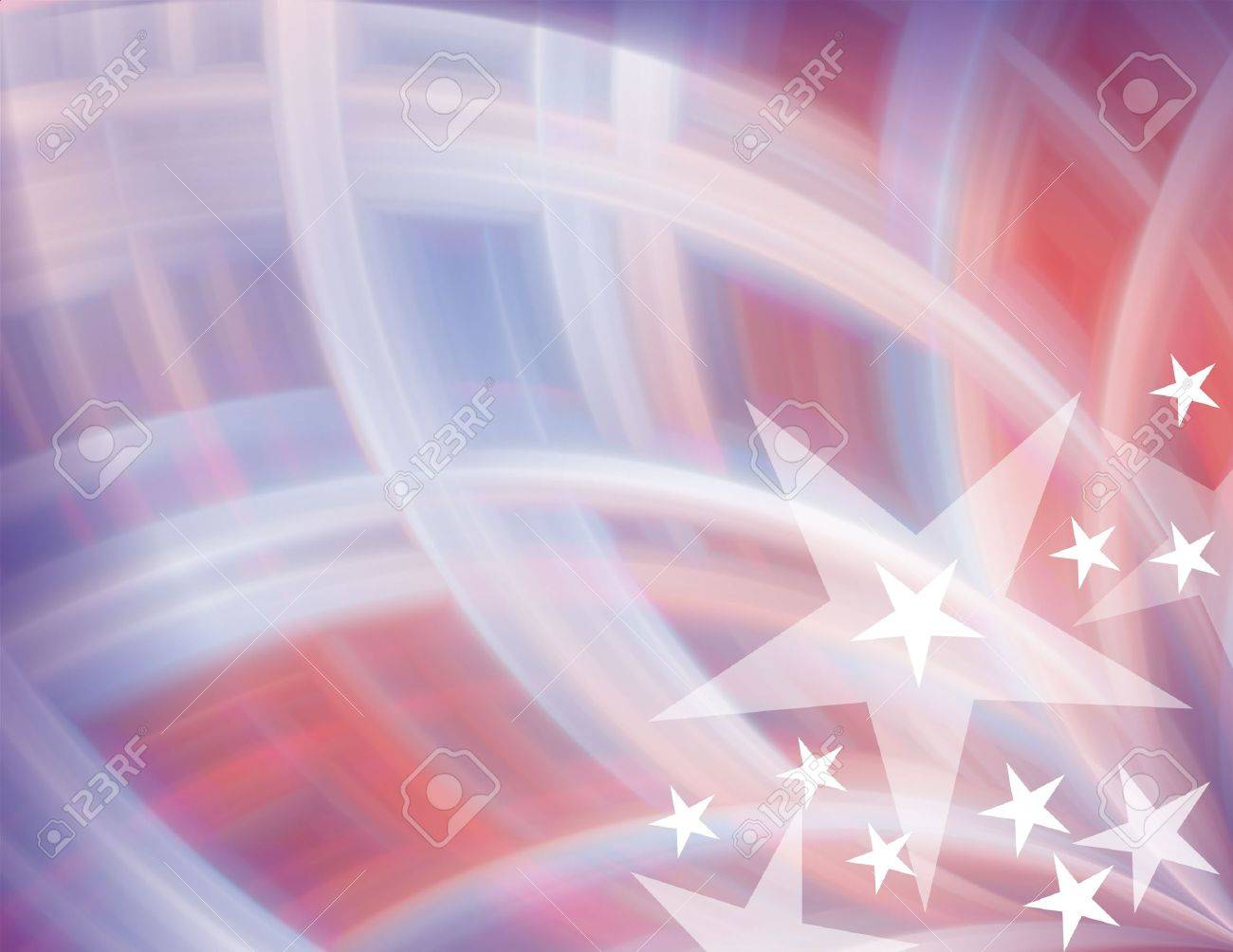 Red White Blue With Stars Abstract Background Stock Photo